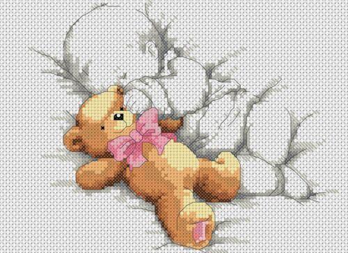Cross stitch chart New Baby Naissance Échantillonneur bébé et Teddy rose Flowerpower 37-uk