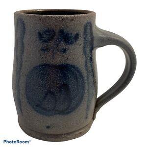 Rowe Pottery Works 1987 Mug 4 1/2 in Tall Salt Glaze Blue Cambridge Apple Peach