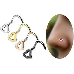 1PC-OR-4PCS-HEART-NOSE-STUD-CURVED-316-SURGICAL-STEEL-PIN-RING-BODY-PIERCING