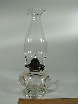 "Antique 12"" Clear Glass Kerosene Lamp w Handle & Queen Ann #1 Burner"