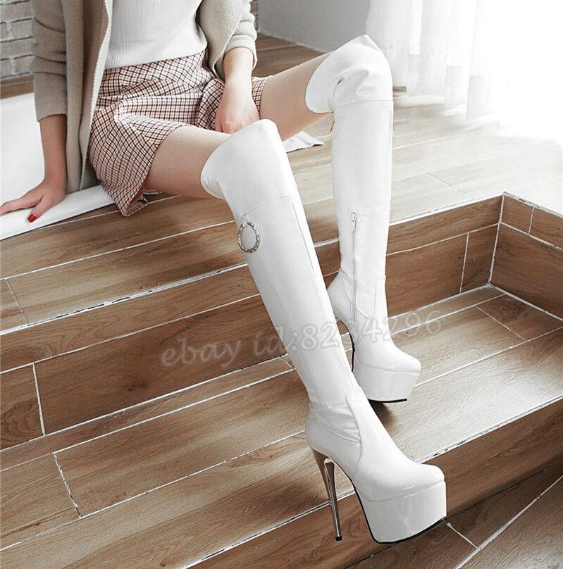 Sexy Overkneestiefel Lackleder Stiefel Damen High Heels Platform Glanz Stiefel TOP