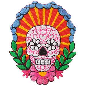 Skull Bone Indian Mexican Flower Vine Tattoo Biker Hippie Iron On