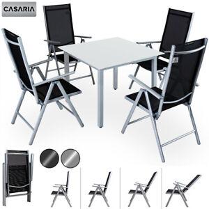 Détails sur CASARIA® Salon de jardin aluminium »Bern« 1 table 4 chaises  différentes couleurs