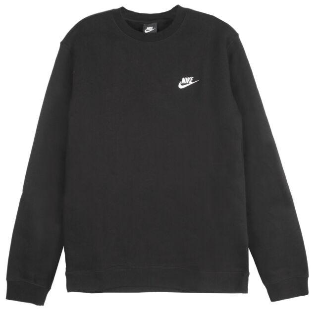4f78658437b7 Nike Nsw Club Fleece Crew Mens 804340-010 Black White Logo Sweatshirt Size S