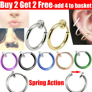 Fake Nose Ring Spring Clip On Fake Lip Nose Helix Lobe Ear Rings