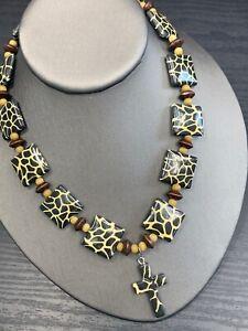Pendant-Necklace-Bohemian-Vtg-Vintage-Giraffe-Pattern-Cross-Pendant-Wood-Beaded