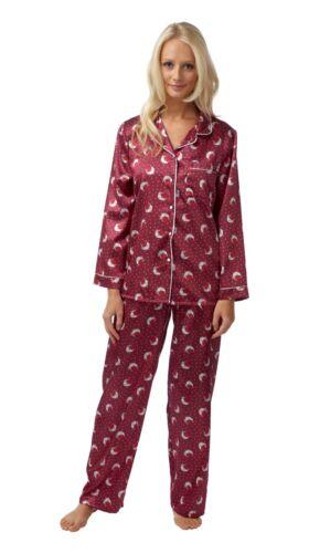 Damen warm gefütterter Satin Samtig PJs Pyjamas Schlafanzug lange Ärmel