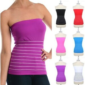0dbdb8723e Image is loading Seamless-Half-Striped-Tube-Top-Strapless-Stretchable-Cute-