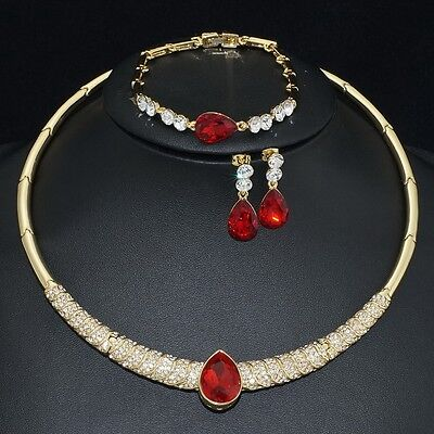 V399 Austrian Crystal 18K GP Red CZ Earrings Bracelet Necklace Set Bridal Gift