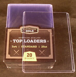 Details about Lot of 25 Cardboard Gold Quality 3x4 plastic TOP-LOADER card  holders + sleeves