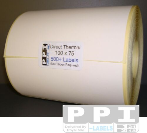 25 mm Core Plain White Blank DIRECT THERMAL ROLL Labels 500 Per Roll 100 x 75