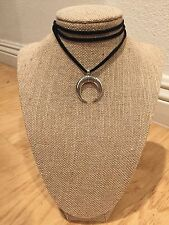 Long black chord choker necklace with half moon pendant wrap or tie