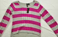 Women's Red Paint Sweater Size Large Bold Pink/gray Stripe Long Sleeve Scoop Nec