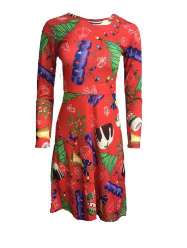 WOMENS CHRISTMAS SKATER DRESS LADIES XMAS PLUS SIZE SWING DRESS GIRLS TOP FLARED