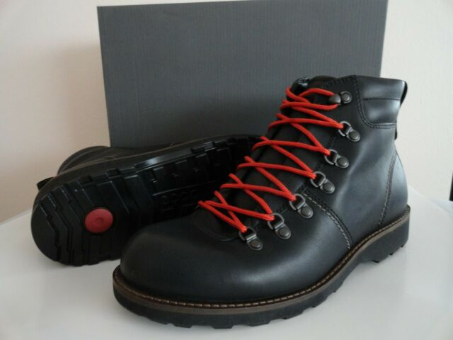 "NEW MEN'S ECCO ""HOLBROK"" MID CUT LACE RUGGED BOOTS LEATHER BLACK $220+"