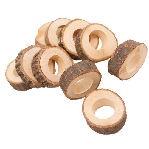10PCS Wooden Napkin Serviette Rings Holders for Wedding Party Dinner Decor