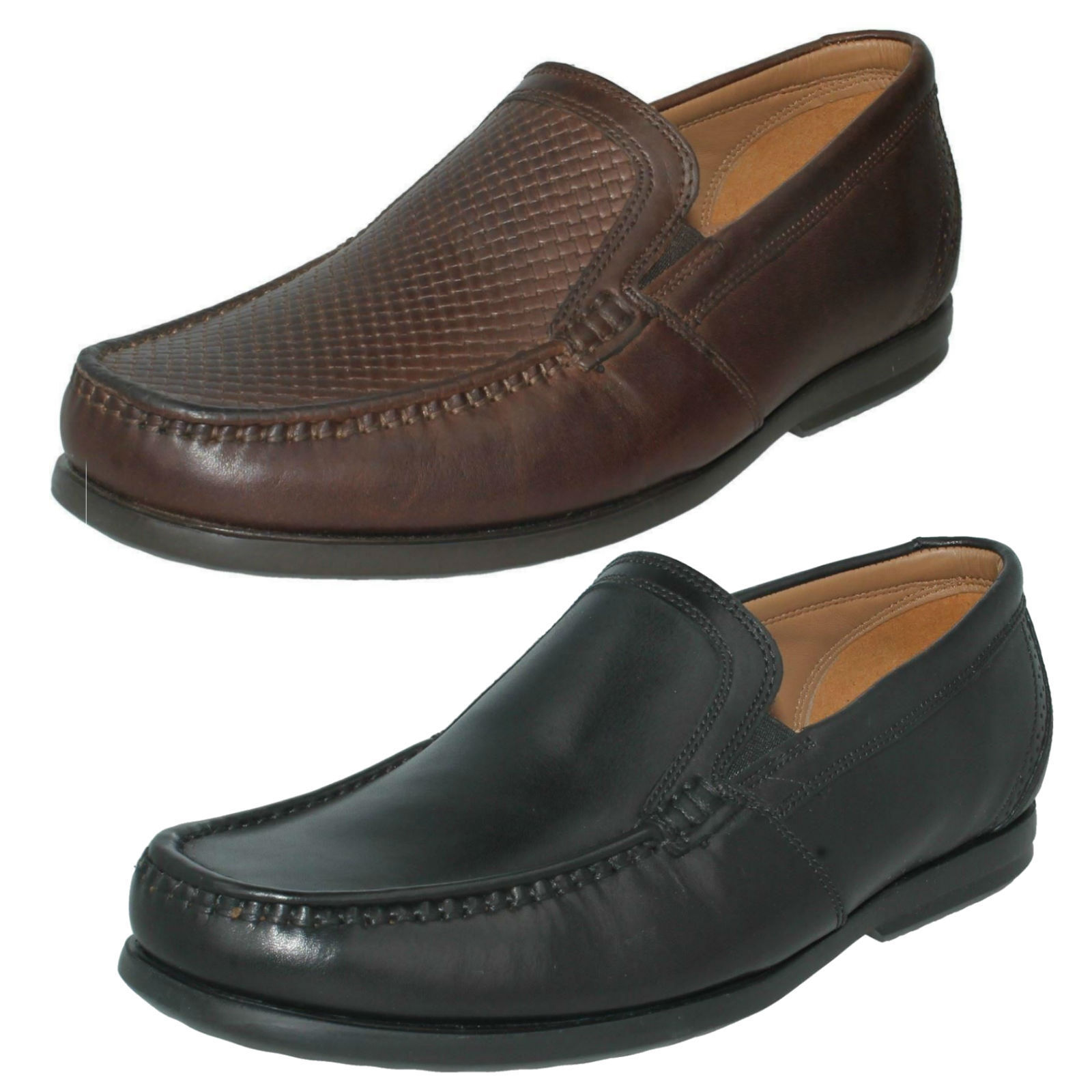 MENS CLARKS UNSTRUCTURED SLIP ON LEATHER SMART STYLISH SHOES SIZE UN GALA FREE