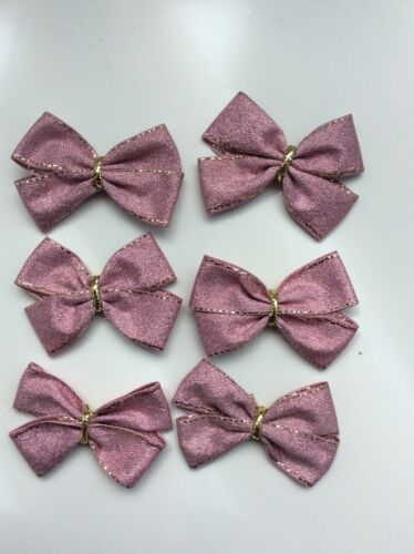 """6 Small Sparkly Pink Bow 5cm Pink Bows Ready Made Mini Ribbon Craft Bows 2"""""""
