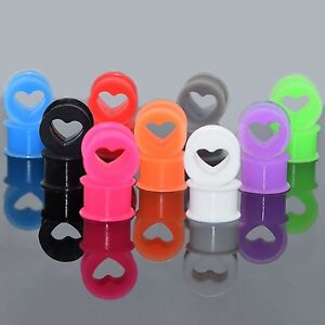 Squishy Ear Plugs : PAIR-Silicone Squishy Heart Ear Skins Double Flare Ear Tunnel Plugs Multi Color eBay