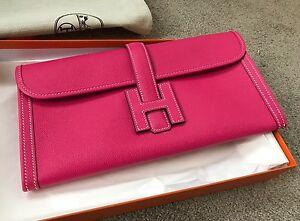 RARE Hermes Rose Tyrien Pink Jige Elan 29 Clutch Epsom Stamp X  7d5936b2a