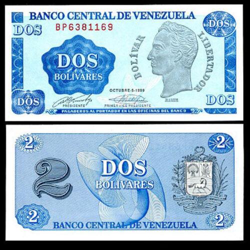 Venezuela P69 1989 Simon Bolivar // arms 2 Bolivars UNC USBNC printer