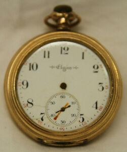 1 75 Vintage Elgin Gold Plated Pocket Watch Ebay