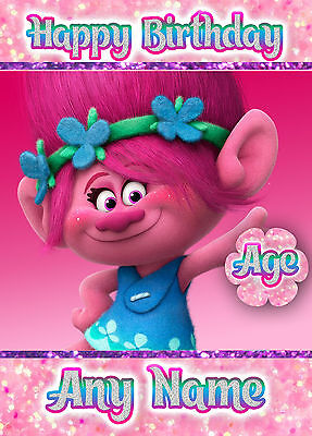 trolls  photo  card personalised with any name  birthday card