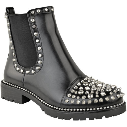 Womens Studded Ankle Boots Stud Toe Low Block Heel Chunky Chelsea Boots Size
