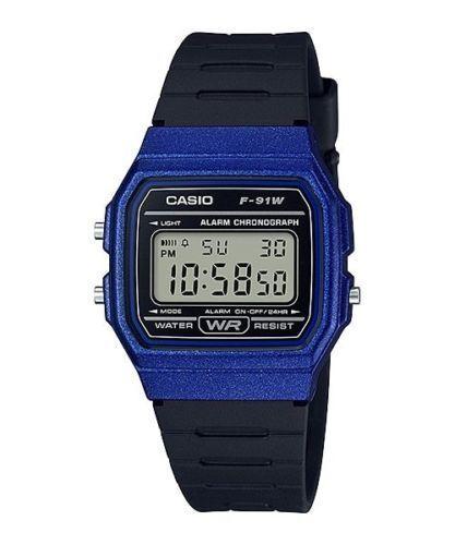 001d66a4a116 Casio Unisex Quartz Alarm Blue Case Black Resin Band 35mm Watch F91wm-2a  for sale online