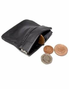 MENS-LADIES-BLACK-REAL-LEATHER-COIN-POUCH-WALLET-PURSE