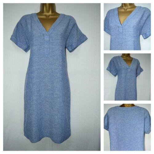 NEW M/&S LADIES V NECK SHIFT DRESS TUNIC CHAMBRAY DENIM SUMMER LINEN BLEND 6-24