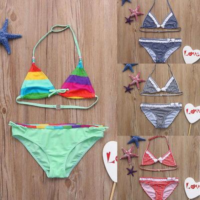 Infant Kids Girls Color Striped Swimwear Swimsuit Bathing Bikini Set Outfits