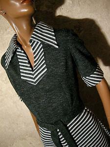 38 60er Chevron 60s Robe Abito Dress Vtg Kleid Retro Chic Vintage 1960 CRUPPw