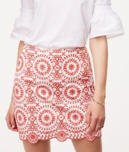 c9f02c9f85 Ann Taylor LOFT Eyelet Medallion Skirt Size 14 Petite NWT Whisper ...