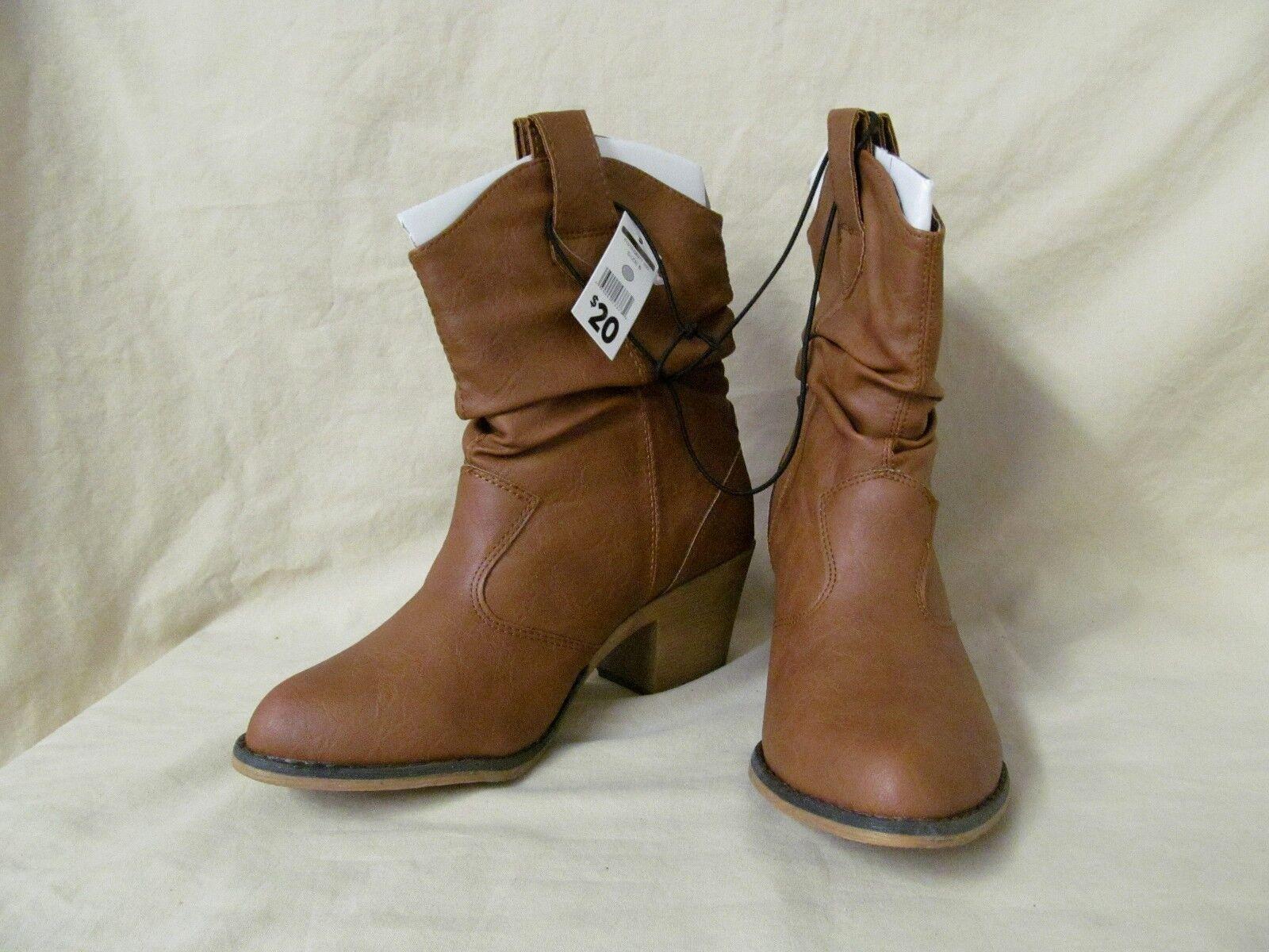"New Women's 6 M Tan Brown 8"" Ankle Cowboy Western Fashion Boots"