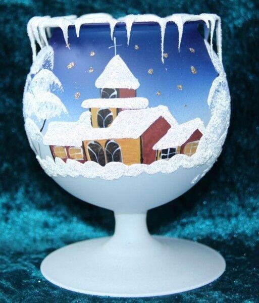 10 Stück Kelch fürs Teelicht aus Glas blau Weihnachten handbemalt
