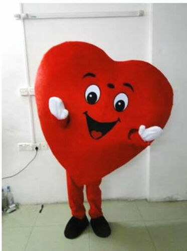 2019 Adult Red Love Heart Mascot Costume Christmas Party Fancy Dress Clothing