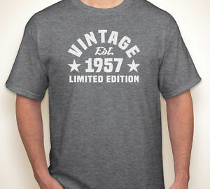 Image Is Loading VINTAGE EST 1957 Or Any Year Happy 60th