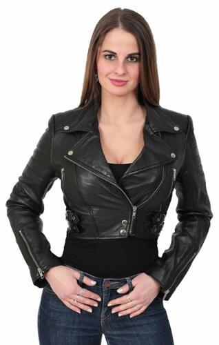 pour et de Crop cuir d'agneau femmes Shrug Bolero Veste motard véritable moto filles en FRqw1v7d