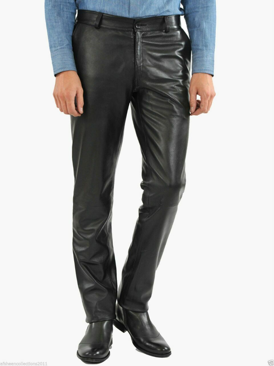 Formal Genuine Leather Lambskin Classic Style Men Leather Pant-Sp-20