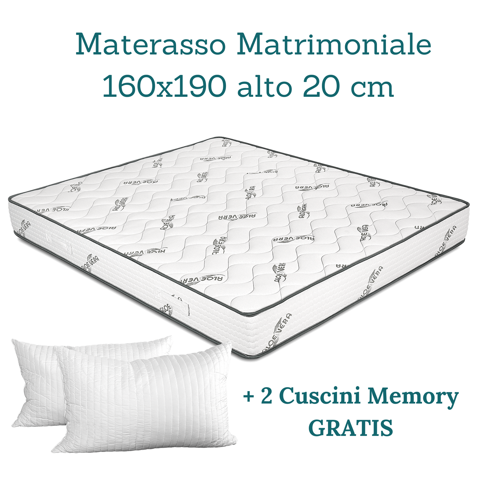 KIT ALOE Materasso Matrimoniale, Rete Rete Rete Ortopedica a Doghe+ Cuscini Memory GRATIS 57f04e