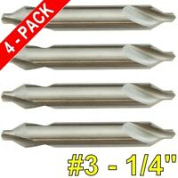 4 Pc 3 Center Drill Bit 60 Deg M2 Hss High Speed Steel Countersink 1/4