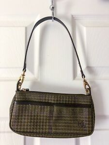 Lauren Ralph Lauren clutch bag Gun check plaid Purse Green Brown RL ... 69cdbd1571c3b