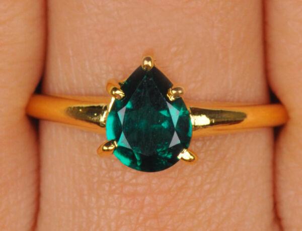 1,15kt 585er Gelbgold Natürlichen Grünen Smaragd Birne Form Verlobungs Ring