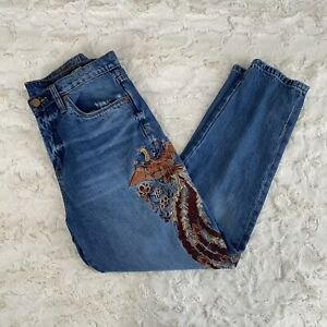 Blank NYC Blue Embroidered High Rise Tapered Jeans Size 30