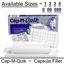 Cap M Quik Capsule Filling Machine Kit W or W/O TAMPER Size 0 00 000 1 2 3 or 4