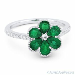 1-18-ct-Pear-Shape-Emerald-amp-Diamond-Pave-18k-White-Gold-Right-Hand-Flower-Ring