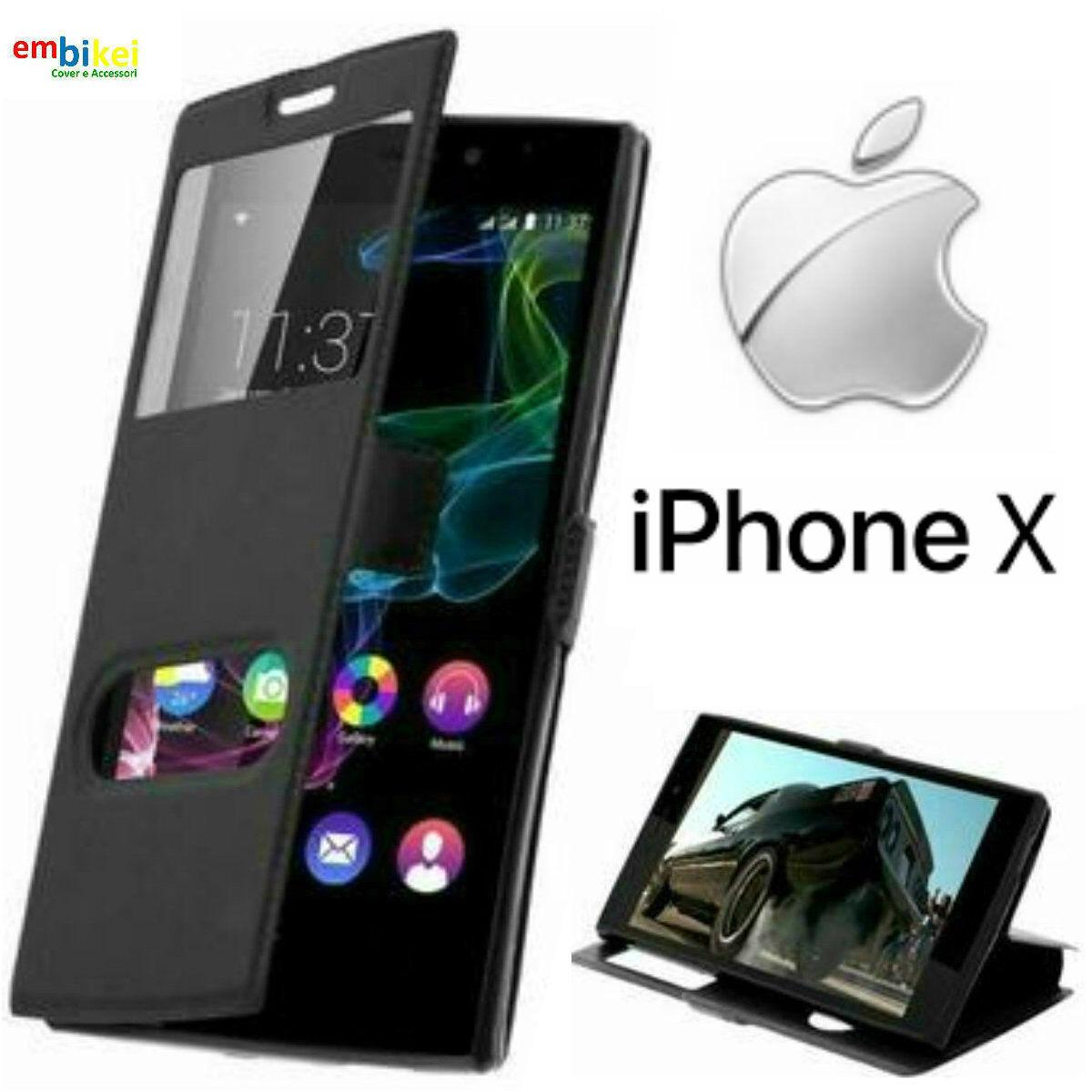 Custodia a libro con doppia finestra per Apple iPhone 5 5S e SE