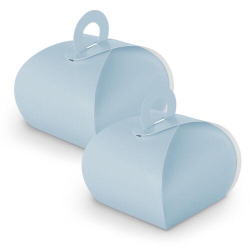 10x itenga Boite Cadeau Avec Poignée Bleu Clair Cadeau Boîte en carton BAPTEME