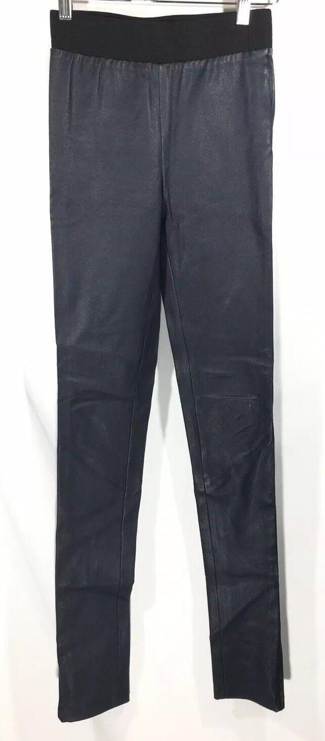 Karolina Zmarlak Designer Stretch Leather Skinny Pant Navy Blau XXS 2XS